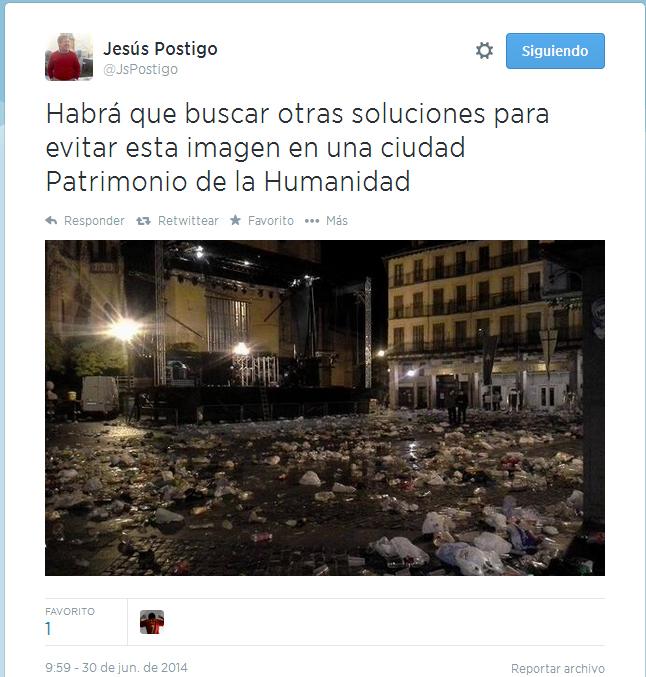 denuncia jesus postigo suciedad plaza mayor tars verbena ferias 2014